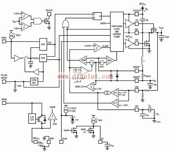 LTC3786高效率同步升压电源电路图
