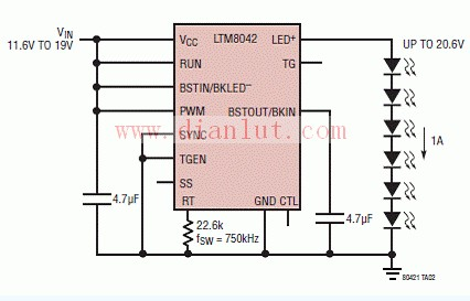 LTM8042驱动白光LED升压电路