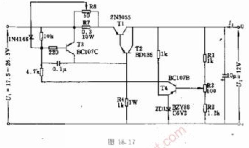 12v,5A的稳压电路图   4148是高速开关管(这里高速相对4001等整流管而言),开关比较迅速,适用于信号频率较高的电路进行单向导通隔离。    在该电路中除了通过电阻R4限制电流峰值为某一定值外。尚通过二极管限制输出的直流电流值,前者也可由电位器R8调节,后者可由电位器R2调节。   该电路技术数据:   输出电压:U2=12V;   输出电流:I1=5A;   输入电压:U1=17.