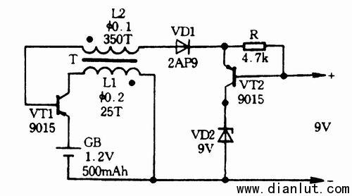 采用三极管元件设计各种升压电路图
