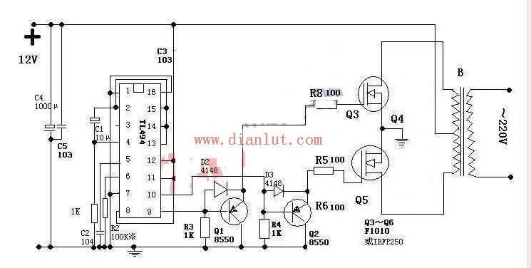基于TL494的逆变器电路图图片