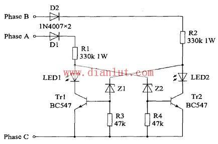 采用三相交流电的相序指示电路
