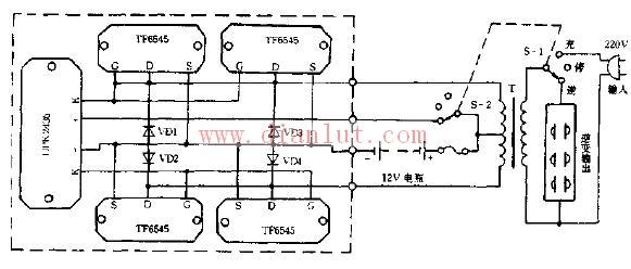 mm upk2436a推动电路和一对tf6545场效应管,组成12伏250瓦逆变器;采用
