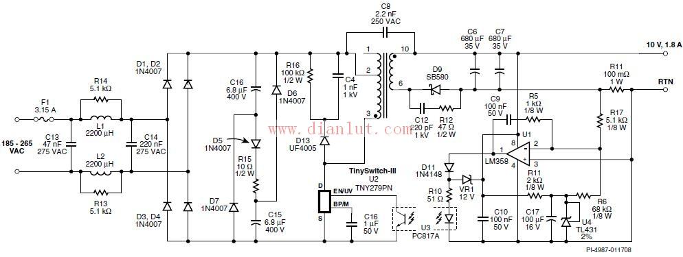 开关及一个电源控制器。与通常的PWM控制器不同,它使用简单的开/关控制方式来稳定输出电压。这个控制器包括了一个振荡器、使能电路、流限状态调节器、5.85V稳压器、旁路/多功能引脚欠压及过压电路、电流限流选择电路、过热保护、电流限流电路,欠压消隐电路及一个700V的功率MOSFET管。此外,TinySwitch-III还增加了欠压检测、自动重启动、自动调整的开关周期导通时间延长及频率抖动功能。下面所示为TinySwitch-III的简单特点:   简单的开/关控制,无需环路补偿;   通过BP/M引脚电容值