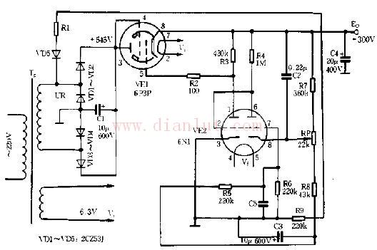 采用电子管的稳压电源电路
