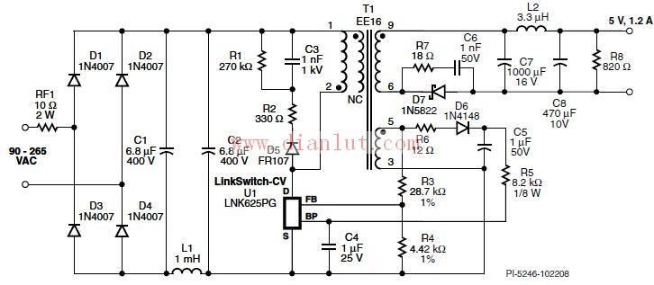 6w/5v/1.2a,90–265 vac输入反激式电源电路原理图
