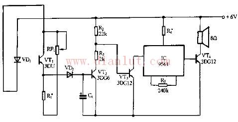 电路中元器件:ic9561为音乐芯片,型号有kd9561,ck9561,tq9561,cl9561