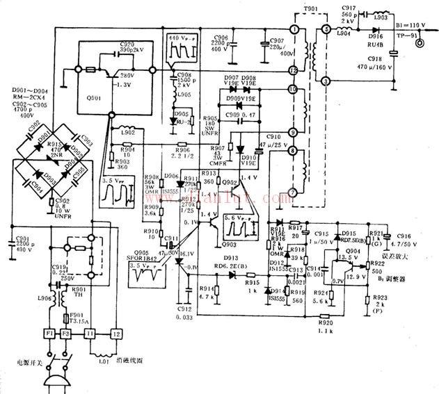 型号为CS37-2的电视电源电路
