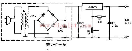 lm317t构成的旧式电源改进电路图