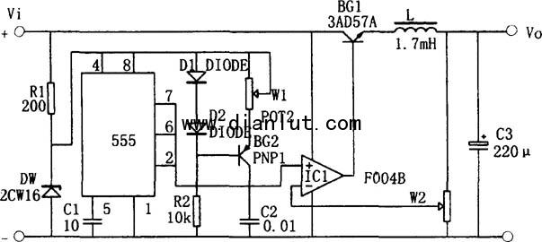 基于NE555的升压型开关稳压电源电路图