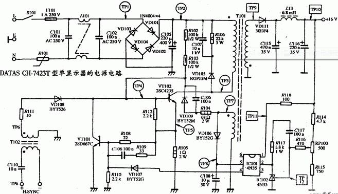 单显示器DATAS CH-7423型的电源电路设计