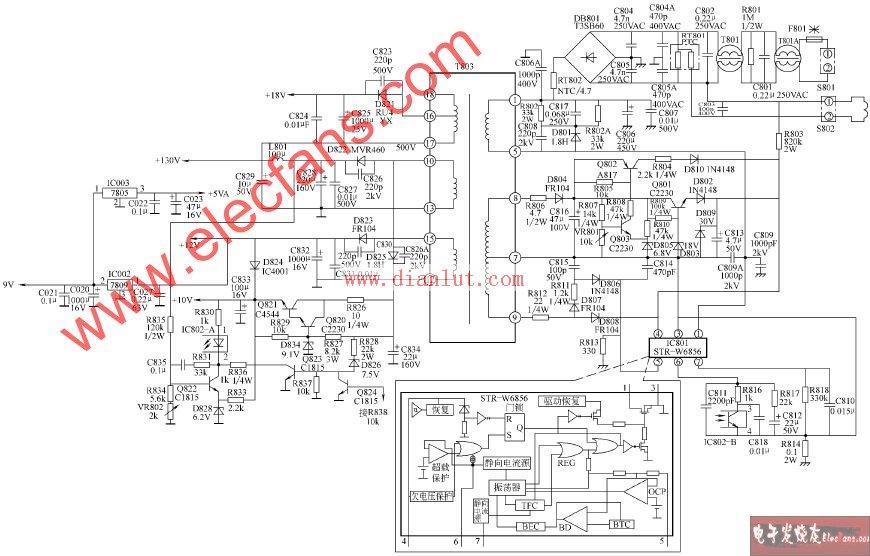 tcl-at25266/tcl-at25288彩色电视开关电源电路原理图