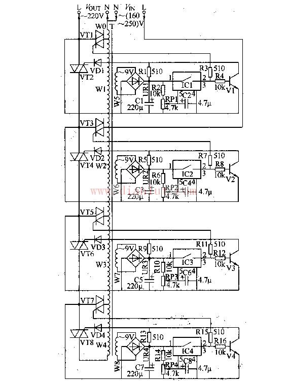 交流稳压器种类固然很多,主回路工作原理有所不同,但基本上(交流参数稳压器例外)基本都是输入开关取样电路,控制电路,电压 调节装置,输出保护装置,驱动装置,显示器及及组成,其基本工作原理框图如下:   1、输入开关:作为稳压器输入工作开关,一般都采用有限流保护的空气开关式小型断路开关,它能对 稳压器和用电设备起到保护作用。 2、电压调节装置:是一种可以调节输出电压的装置,它能将输出电压升高或降低是稳压器最主要的部件。 3、取样电路:它对稳压器输出电压和电流进行检测,将输出电压变化的情况给传送给控制电路。