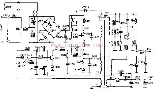 电源常见的有两种:串联型和并联型,由交流整流电路,开关调整振荡回路。稳压调节控制电路,保护电路及电压输出电路组成。   电源系统是各单元电路的能源供给部件,由于各单元电路的对电源的电压值,功率,稳压程度,保护要求。供给组数各不相同,使得电源系统比较复杂。   为保证彩色电视机各部分的正常工作,需要提供显像管的阳极电压,聚焦极电压,加速极电压,灯丝电压,信号处理系统(包括图像,伴音,解码部分)所需的电压,扫描系统所需的电压,视放级所需电压等。 来源: