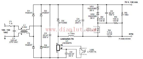 90~132VAC输入,9W/70V/130mA输出降压式转换器电路图