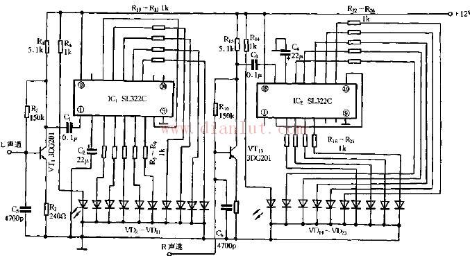 【图】sl322c构成的立体声电平显示电路图电源电路