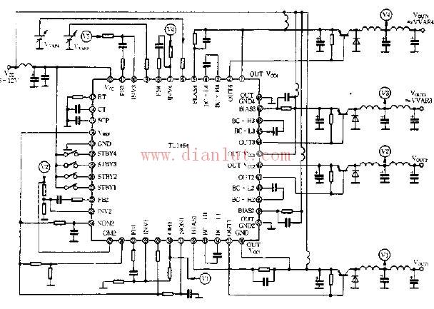 基于tl1464芯片设计四路电源电路
