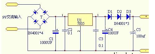 9v交流电变12v直流电原理图-输出3V电压的集成稳压电源电路图图片