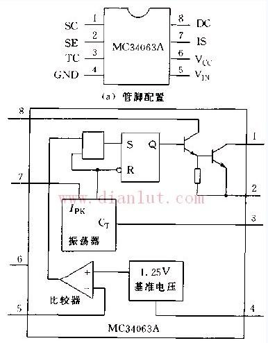 由MC34063A构成的开关电源电路
