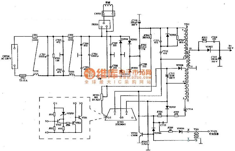 ck-4114彩色显示器电源电路图电源