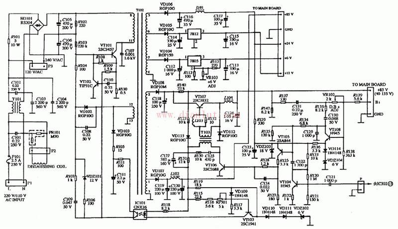 【图】多频彩色显示器电源电路电源电路 电路图 捷配
