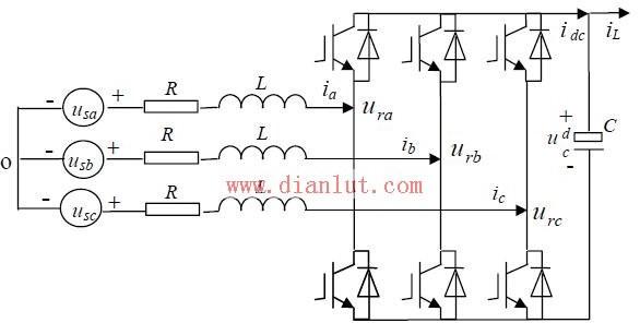三相电压pwm整流器回路拓扑电路原理图