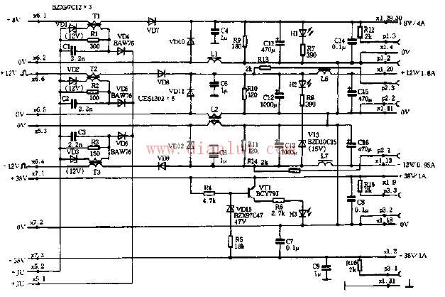 此图即为输出电路图,其特点是多脚输入多脚输出.