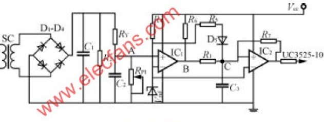 利用电流传感器进行过流检测的IGBT保护电路原理图