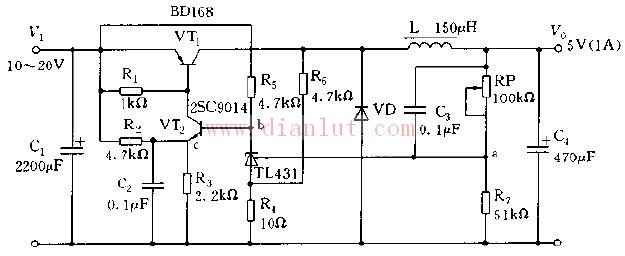 稳压电源电路,输出电压为+5V,输出电流为1A,电路的输出纹波小,变化效率可达82%。TL431,R5与RP.R7构成比较器,同时它又是基准源,通过与R2,R3分压的比较使VT1.VT2,共同产生自激开关振荡R1,为输出开关的偏流电阻,VD为储能电感L的续流二极管。 TL431的封装   TL431是一种并联稳压集成电路。因其性能好、价格低,因此广泛应用在各种电源电路中。其封装形式与塑封三极管9013等相同,如图a所示。同类产品还有图b所示的双直插外形的。 内部结构   TL431的具体功能可以用图c的功