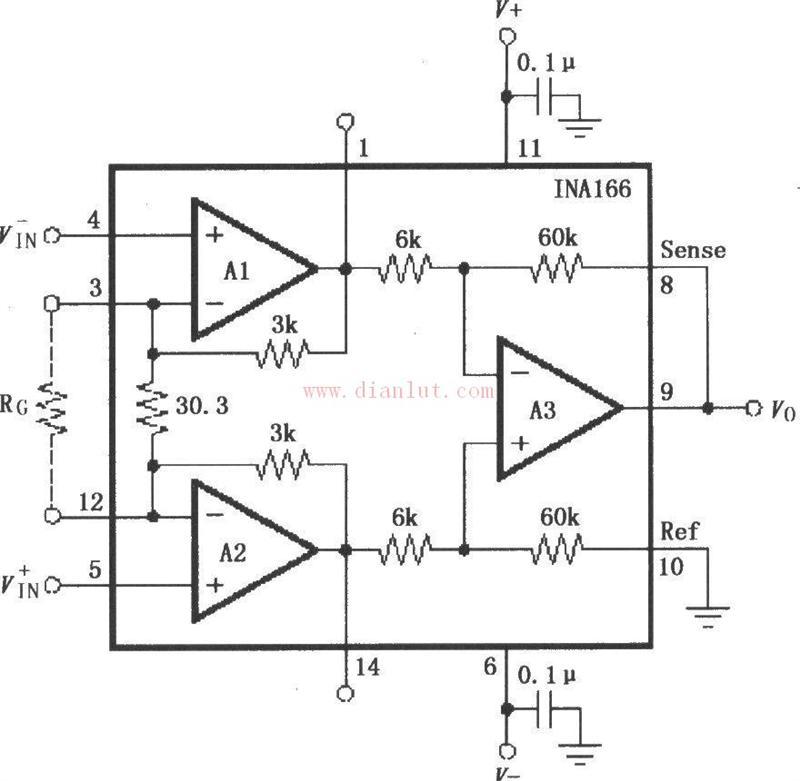 【图】ina166设计的信号和电源基本连接电路原理图
