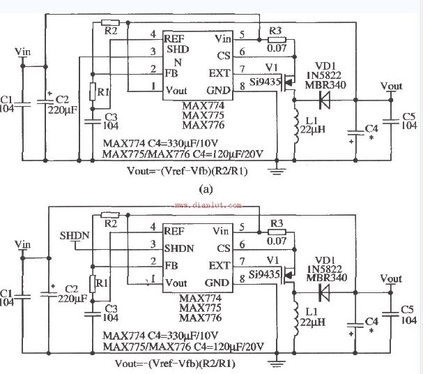 用MAX774/MAX775/MAX776设计的电压可调应用电路