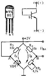 由温敏二极管组成的单臂电桥电路