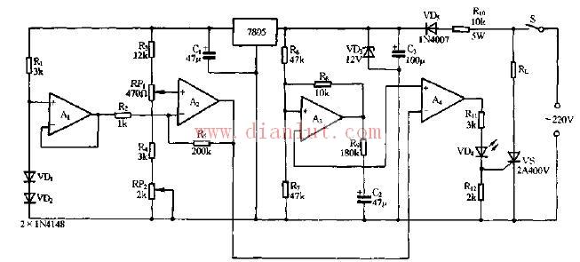 电箱电路图的画法-家用恒温暖箱电路原理图-采用7805构成的家用恒温暖箱电路