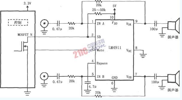 LM4911设计的不同电源导通时间的电路图