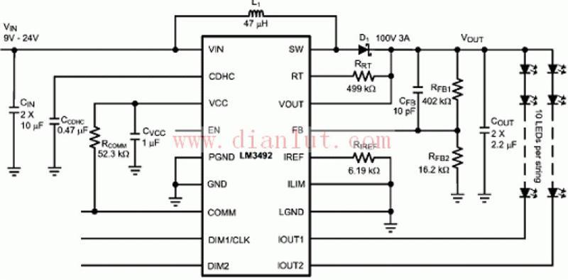 LM3492应用电路原理图