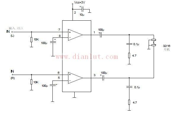 TDA2822应用于便携式磁带放音机电路原理图