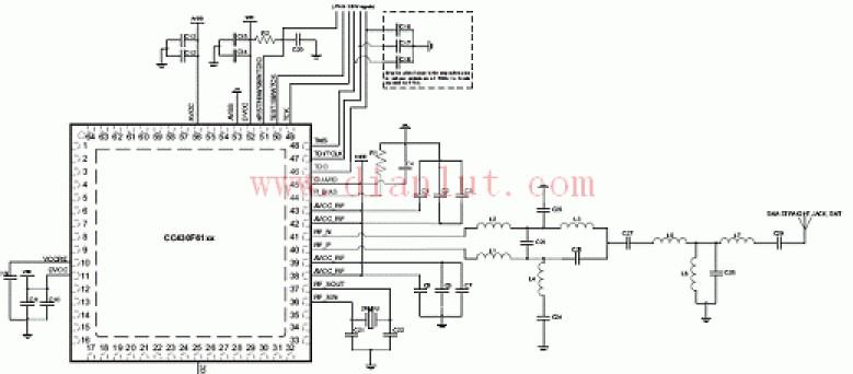 CC430F61系列典型应用电路原理图