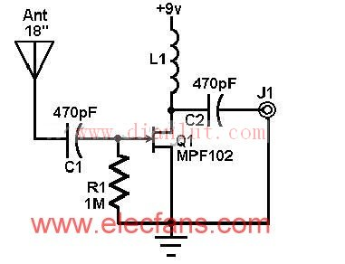 自制收音机的有源天线基础电路 电路图 捷配电子市场网图片