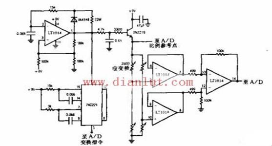 9V电池应变调节计信号电路图