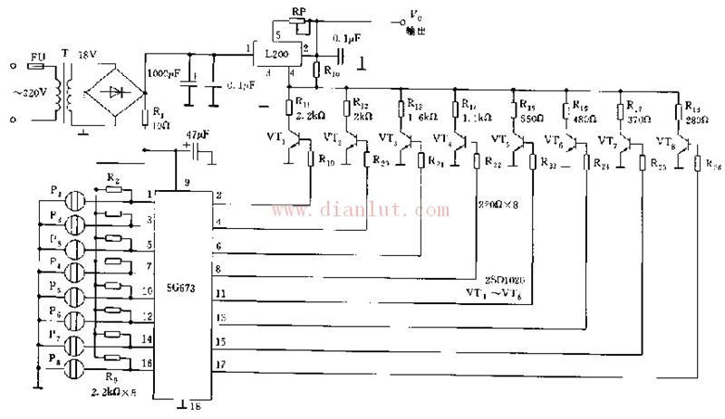 L200构成的触摸式电源电路