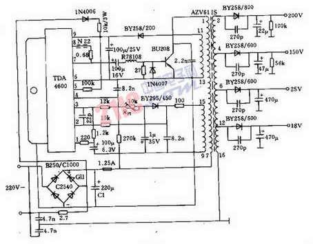 交流器接线图; tda4600阻塞交流器电源电路图解-ic