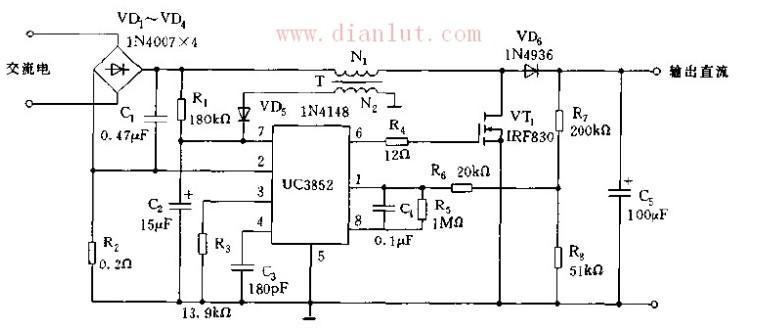 图解:只要2脚输入电压V>-10mV,比较器触发触发器,使调节器正常工作。过电流保护比较器的参考电压则是-400mV,只要2脚的检测电压高于该参考电压,过电流比较器就会驱动并将3脚的电压由5V升至9V,提供保护条件。升压变换器的直流输出电压经过R7、R8分压通过1脚输入到误差放大器的反向输入端,并与4脚的电压比较后,输出PWM脉冲至电流检测逻辑电路。如果输出点也或输入电压升高,VT1导通时间增长,输出脉冲变宽,使输出电压降低;若输出电压降低,VT1的导通时间所短,输出脉冲变窄,使输出电压升高。