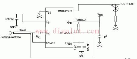 基于stm8t141典型应用电路的原理图