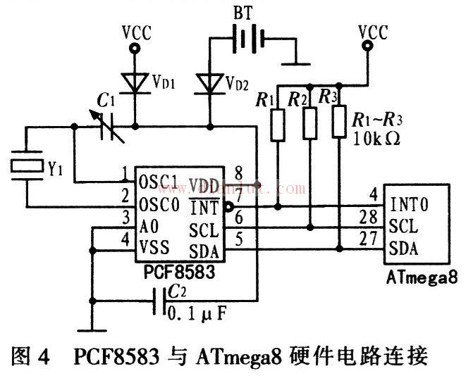 基于PCF8583与ATmega8的硬件连接电路