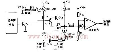 依据场锯齿波电压形成级与场线性的校正电路图