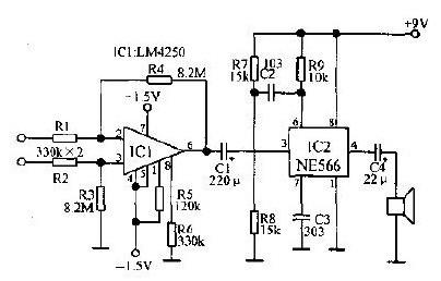 NE566等元件构成的心电图测试电路