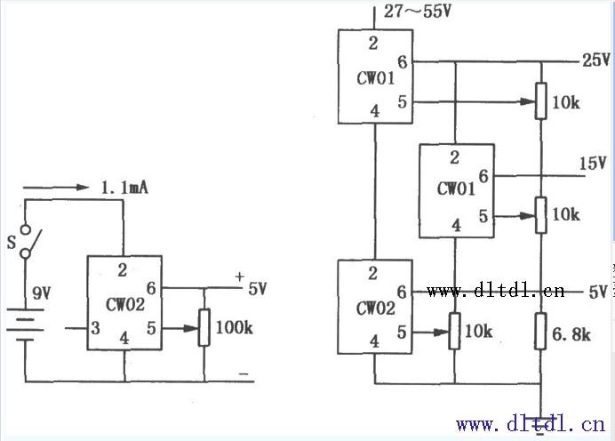 集成稳压器分为:串联调整式、并联调整式和开挂还是稳压器三大类,其主要做药是:稳压,还可以用作恒流源;   CW02系列为金属圆壳封装式和双列直插式5V电压基准源,其特点与CW01系列类似,输入电压为8~33V,输出电压为5V,输出电压调整范围6%。其典型应用电路如 来源: