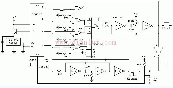 【图】数码电子锁基本电路图基础电路