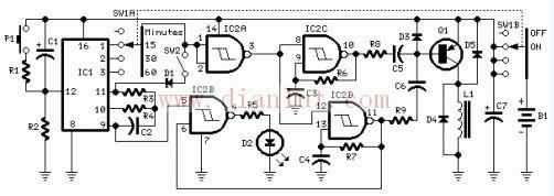 材料BOM表:   R1,R5 1K 1/4W   R2 10K 1/4W   R3,R6 10K 1/4W   R4,R7 2M2 1/4W   R8,R9 4K7 1/4W   C1,C7 47F 25V电解电容   C2 100nF63V 聚酯电容器   C3、C4 330nF 63V聚酯电容器   C5、C6 15nF63V 聚酯电容器   D1、D3、D4,D5可以任意用1N4148 150mA 75V二极管   D2 LED(任何类型)   IC1 线长4060 波纹计数器和振荡器14阶