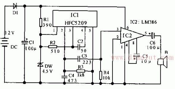汽车倒车提醒器电路原理图基础电路 电路图高清图片